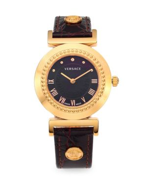 VERSACE Sapphire Black Dial Leather Strap Watch at Saks Off 5TH