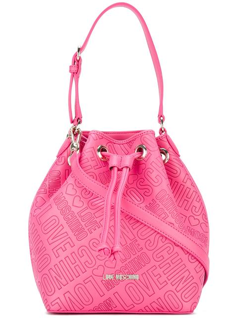 LOVE MOSCHINO Logo Embossed Bucket Shoulder Bag