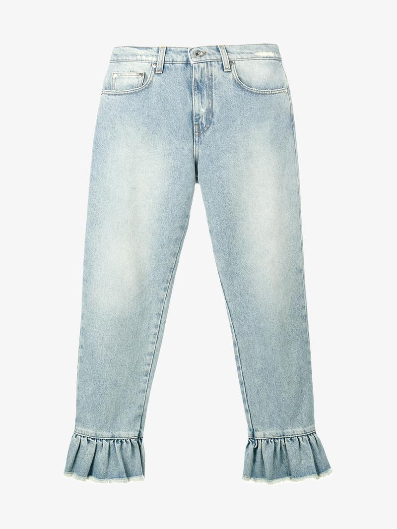 MSGM Distressed Ruffle-Trimmed High-Rise Straight-Leg Jeans at Browns Fashion