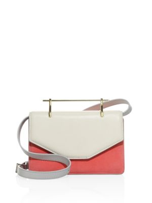 M2MALLETIER Indre Suede & Leather Shoulder Bag in Ivory-Bright Pink