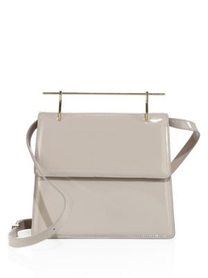 M2MALLETIER La Collectionneuse Patent Leather Shoulder Bag in Grey
