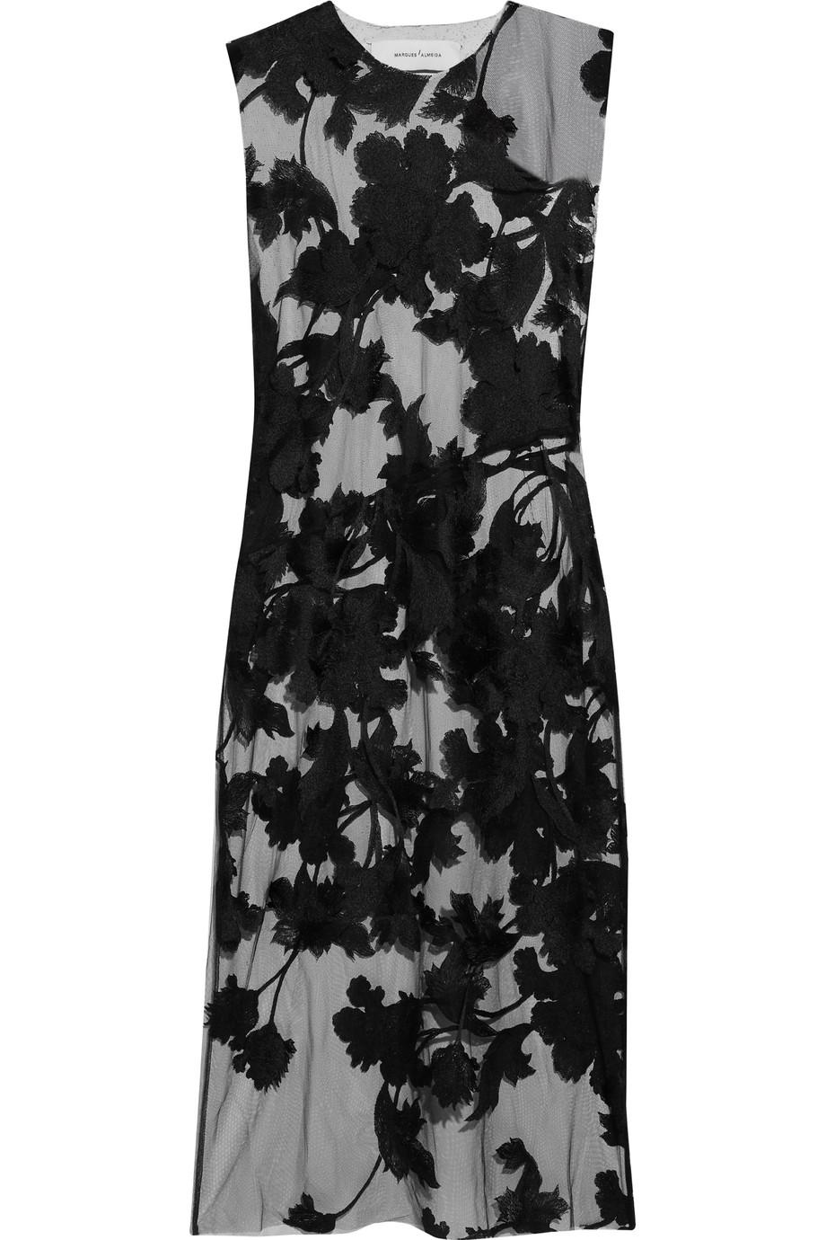 MARQUES' ALMEIDA Embroidered Tulle Midi Dress