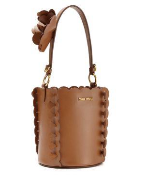 MIU MIU Scalloped Leather Bucket Bag