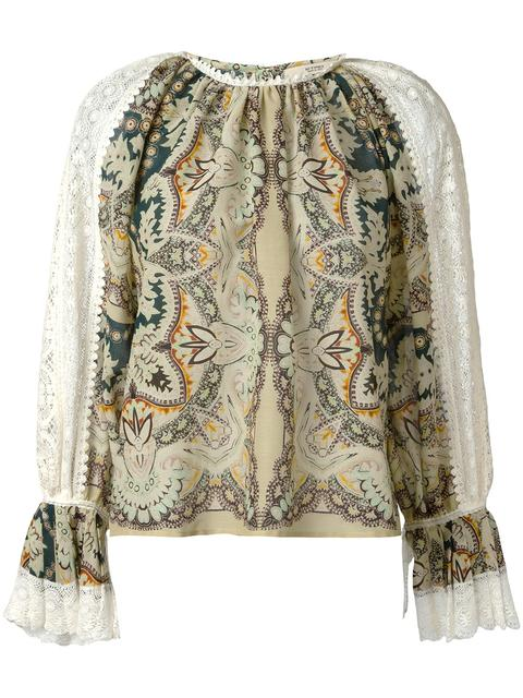 ETRO Printed Cotton And Silk Blouse With Lace at Farfetch