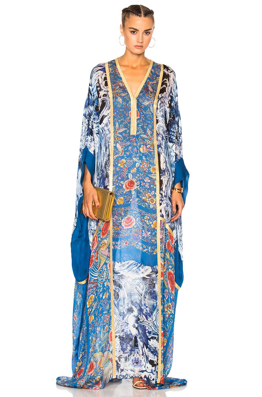 ROBERTO CAVALLI Floral Printed Panels Silk Chiffon Dress, Multicolor at FORWARD