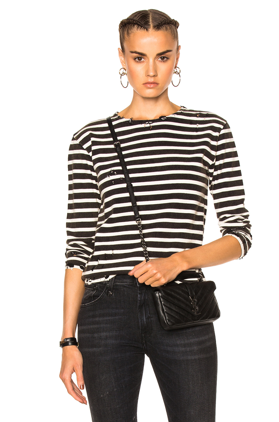 R13 Breton Long Sleeve T in Black & Creme
