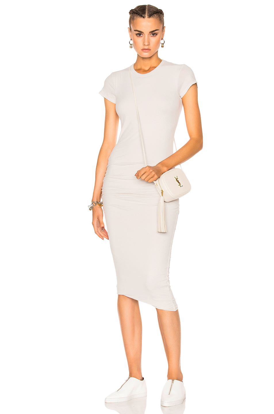 JAMES PERSE Classic Skinny Dress in Talc