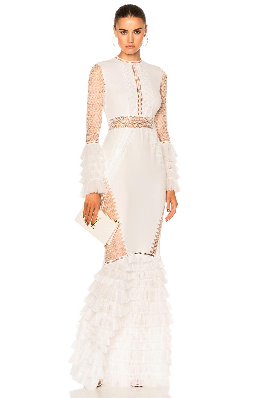 JONATHAN SIMKHAI Tiered Ruffle Long Sleeve Lace Dress in Ivory