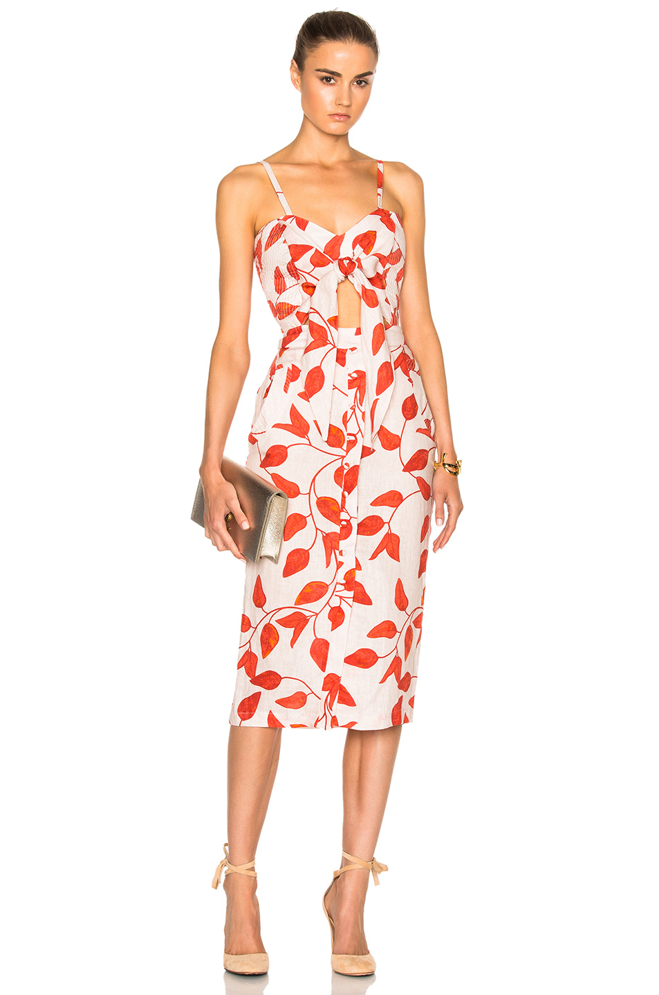 JOHANNA ORTIZ Leaf-Print Linen Tie-Front Cami Dress, Red/White at FORWARD