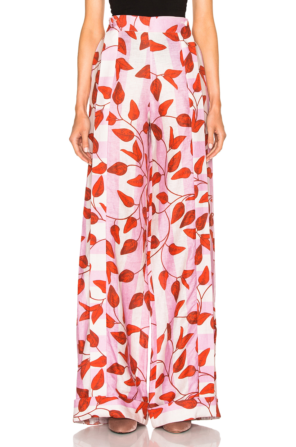 JOHANNA ORTIZ Colorado High-Waist Leaf-Print Trousers, Red/Pink at FORWARD