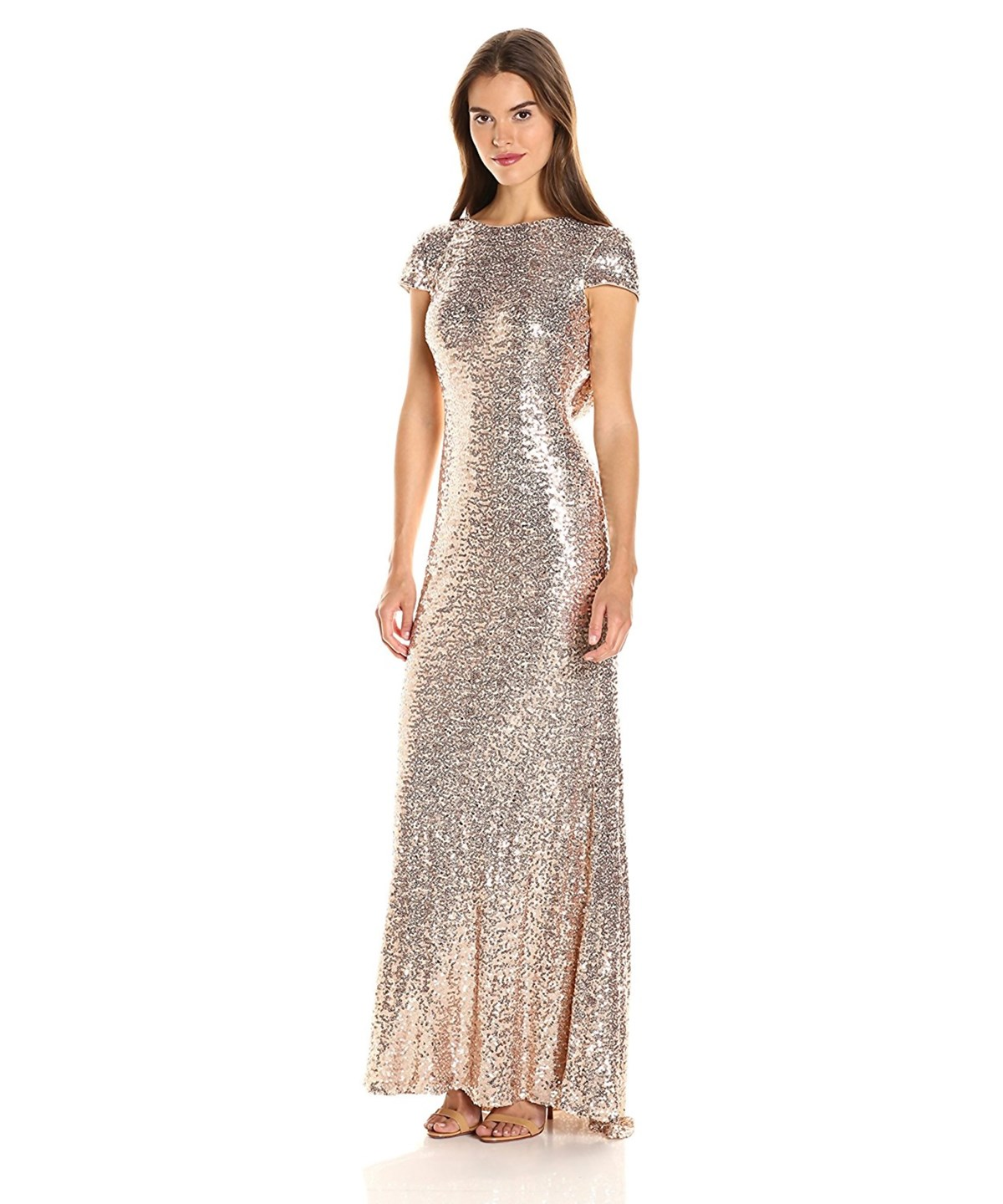 BADGLEY MISCHKA Blush Cap Sleeve Sequin Cowl Back Evening Gown' in Pink