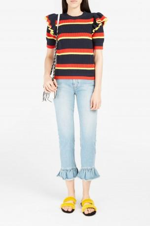 MSGM Distressed Ruffle-Trimmed High-Rise Straight-Leg Jeans at Boutique 1