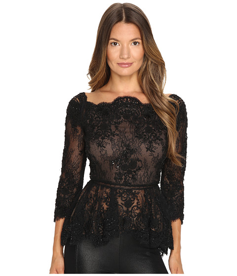 MARCHESA Off The Shoulder Beaded Lace Peplum Top With 3/4 Sleeves And Lace Ladder Detail in Black