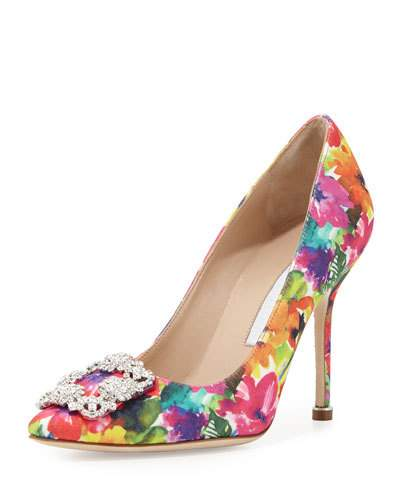 MANOLO BLAHNIK Hangisi Printed Fabric 105Mm Pump, Brown Metallic