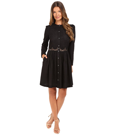 THE KOOPLES Embroidered Cotton Long Sleeve Dress in Black