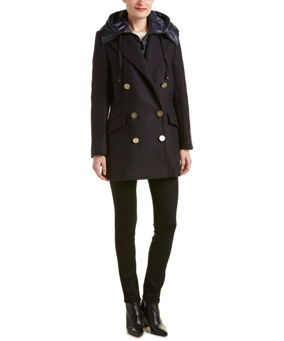 MONCLER Galatea Double-Breasted Wool-Blend Coat' in Blue
