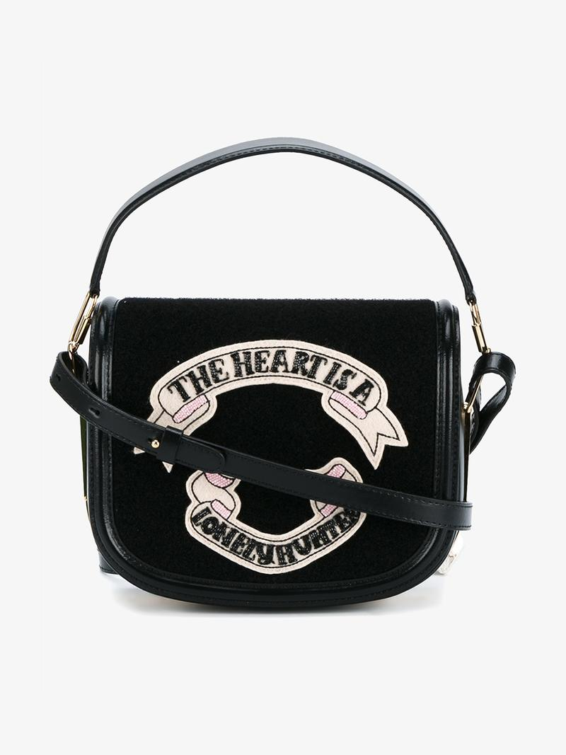 OLYMPIA LE-TAN Leather Shoulder Bag With Felt at Browns Fashion