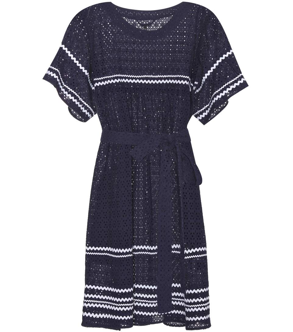 LISA MARIE FERNANDEZ 'Fiesta' Zigzag Stripe Eyelet Cotton Lace Dress in Eavy Eyelet With White Ric Rac
