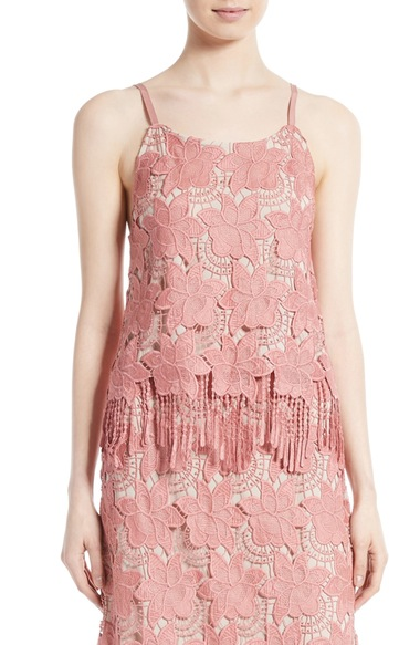ALICE AND OLIVIA 'Waverly' Fringe Hem Floral Lace Camisole at Nordstrom