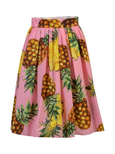 DOLCE & GABBANA Pineapple-Print Cotton Skirt at Italist.com