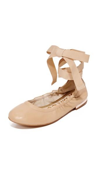 SAM EDELMAN Fallon Lace Up Ballet Flats at Shopbop