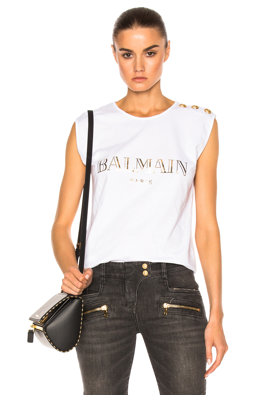 BALMAIN Logo Cotton Jersey Sleeveless Top, White at FORWARD