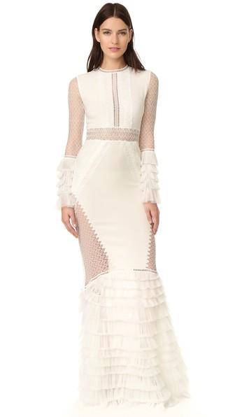 JONATHAN SIMKHAI Tiered Ruffle Long Sleeve Lace Dress at Shopbop