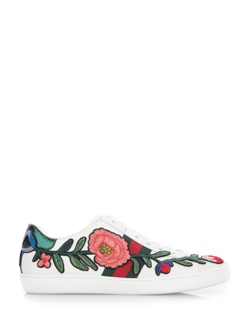 GUCCI New Ace Floral-Embroidered Low-Top Sneaker, White/Multi, Multi Colors at Al Duca d'Aosta