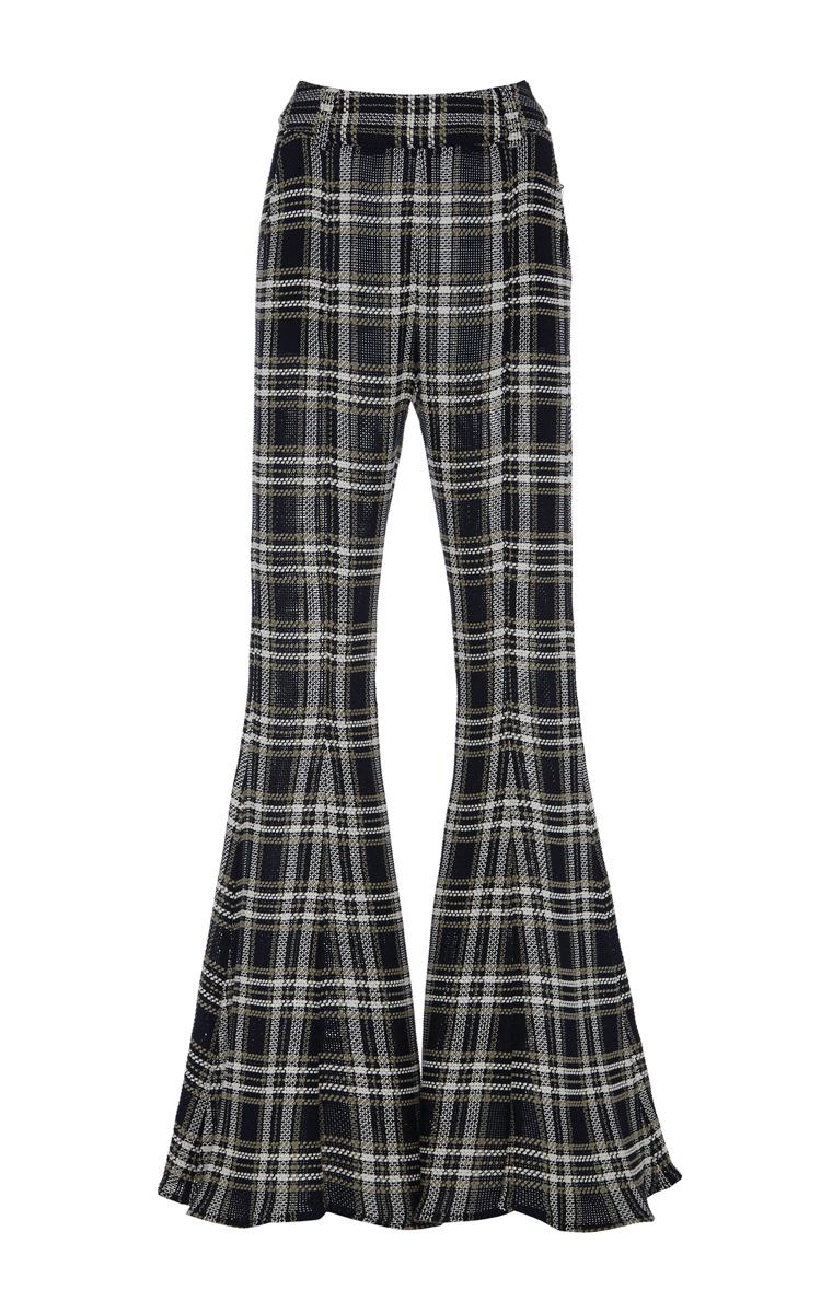 BEAUFILLE Navi Plaid Open-Knit Cotton Flared Pants