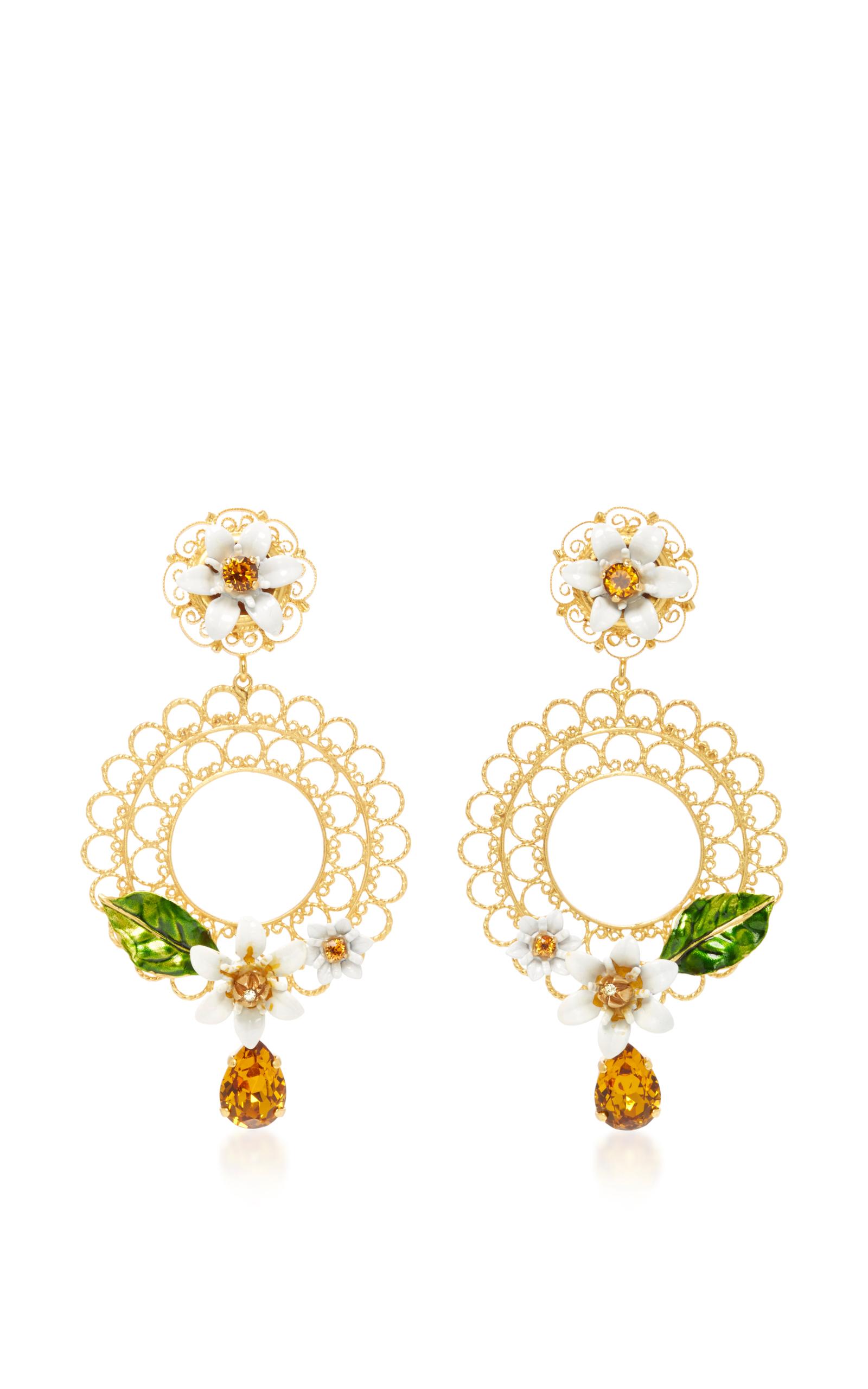 DOLCE & GABBANA Gold-Tone, Swarovski Crystal And Enamel Clip Earrings at Moda Operandi