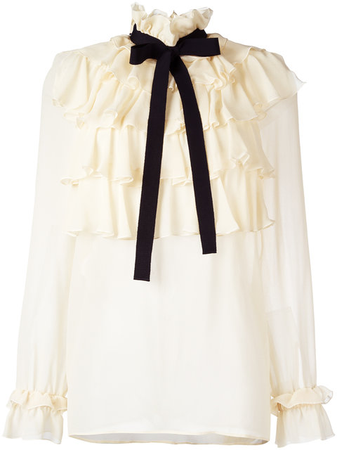 GUCCI Ruffled Silk Georgette Shirt With Bow, Ivory at Farfetch