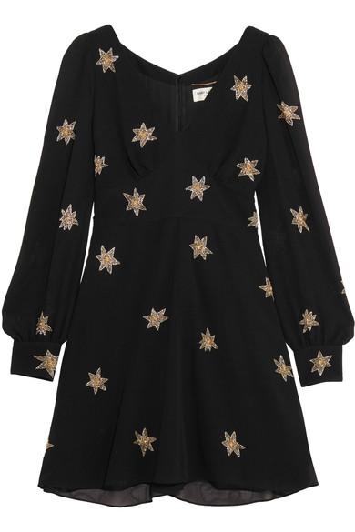 SAINT LAURENT Embellished Silk-Georgette Mini Dress at NET-A-PORTER