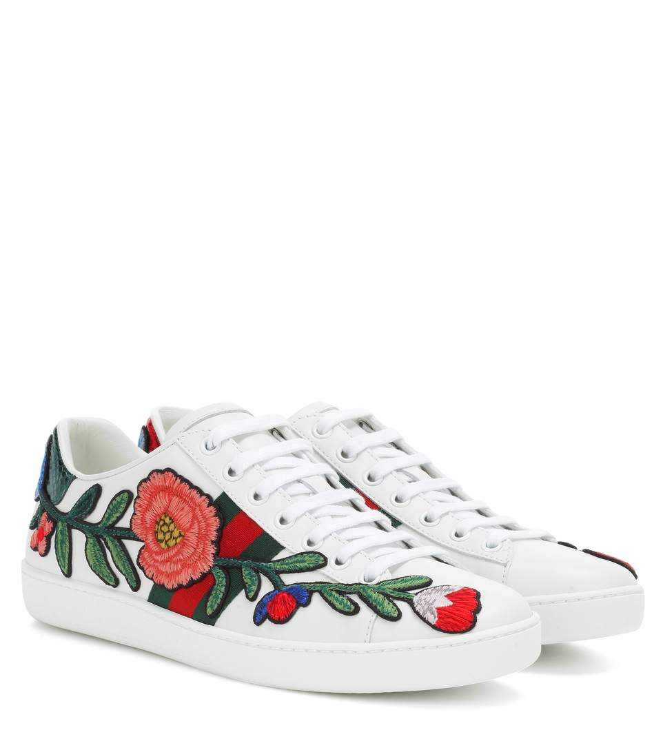 GUCCI New Ace Floral-Embroidered Low-Top Sneaker, White/Multi, Multi Colors at mytheresa.com