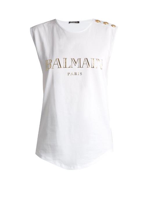 BALMAIN Logo Cotton Jersey Sleeveless Top, White at MATCHESFASHION.COM