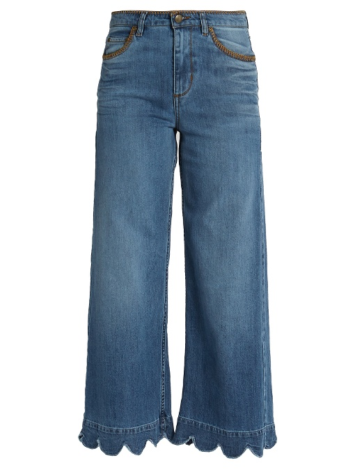 RED VALENTINO Stone-Washed Cropped Wide-Leg Jeans, Light Blue at MATCHESFASHION.COM