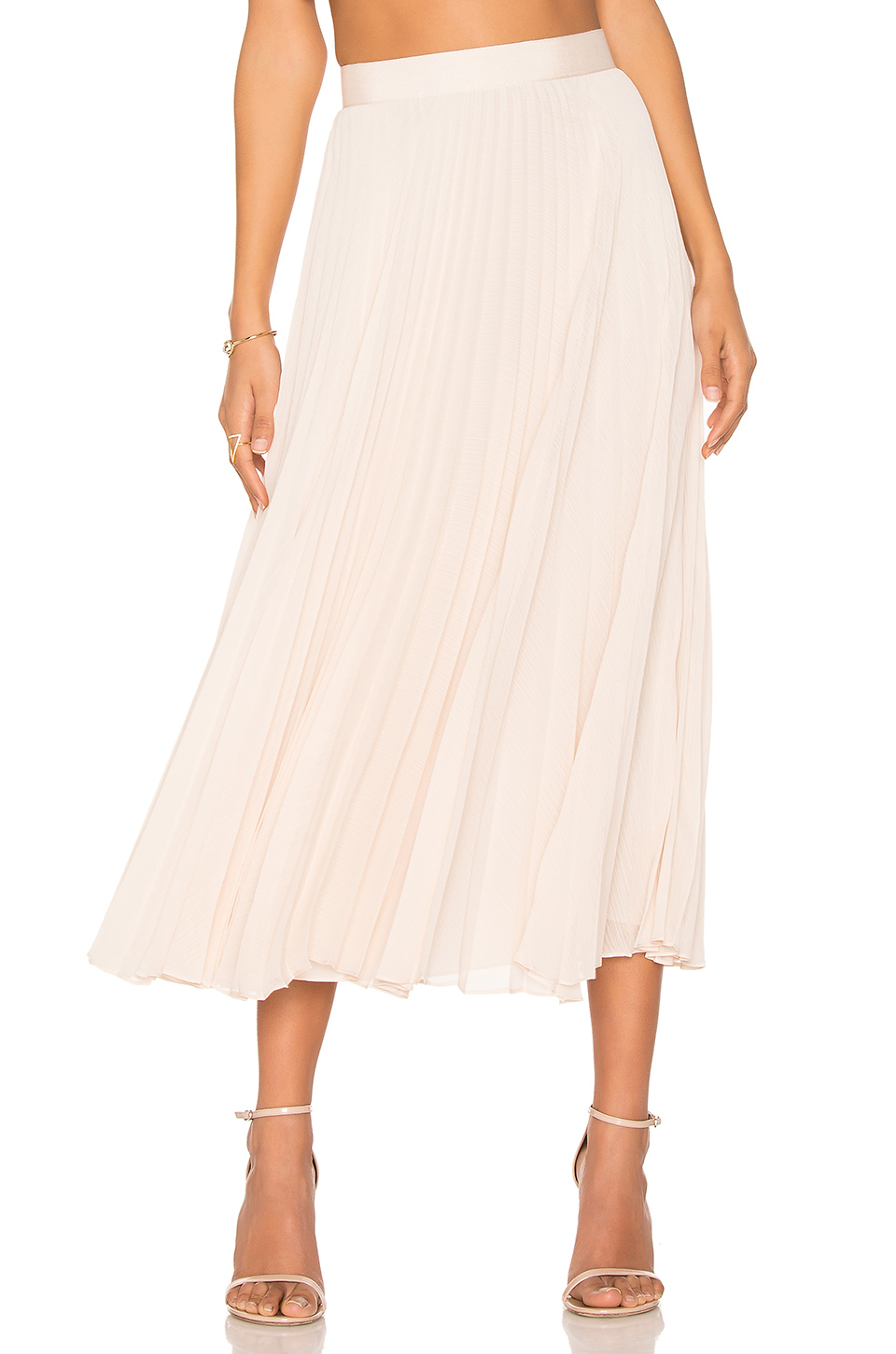 ALICE AND OLIVIA 'Essie' Pleated Crépon Midi Skirt at REVOLVE