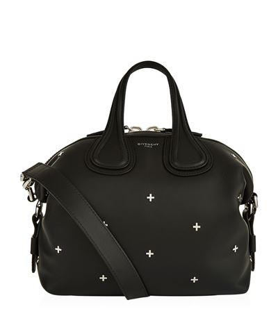 GIVENCHY Nightingale Micro Black Leather Satchel Bag W/Metal Cross at Harrods