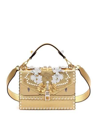 FENDI Kan I Floral Monster Top-Handle Shoulder Bag, Gold at Neiman Marcus