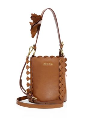 MIU MIU Scalloped Leather Bucket Bag at Saks Fifth Avenue