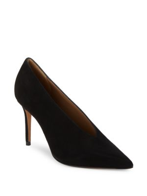 VINCE Portia Suede Pointed-Toe Pump, Black at Saks Off 5TH