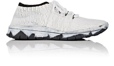 MAISON MARTIN MARGIELA Cracked Sponge Painted Sneakers in Bianco