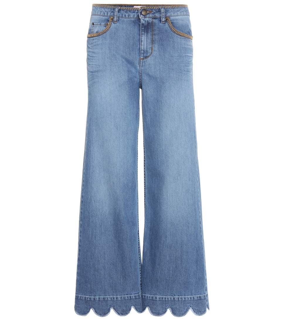 RED VALENTINO Stone-Washed Cropped Wide-Leg Jeans, Light Blue at mytheresa.com