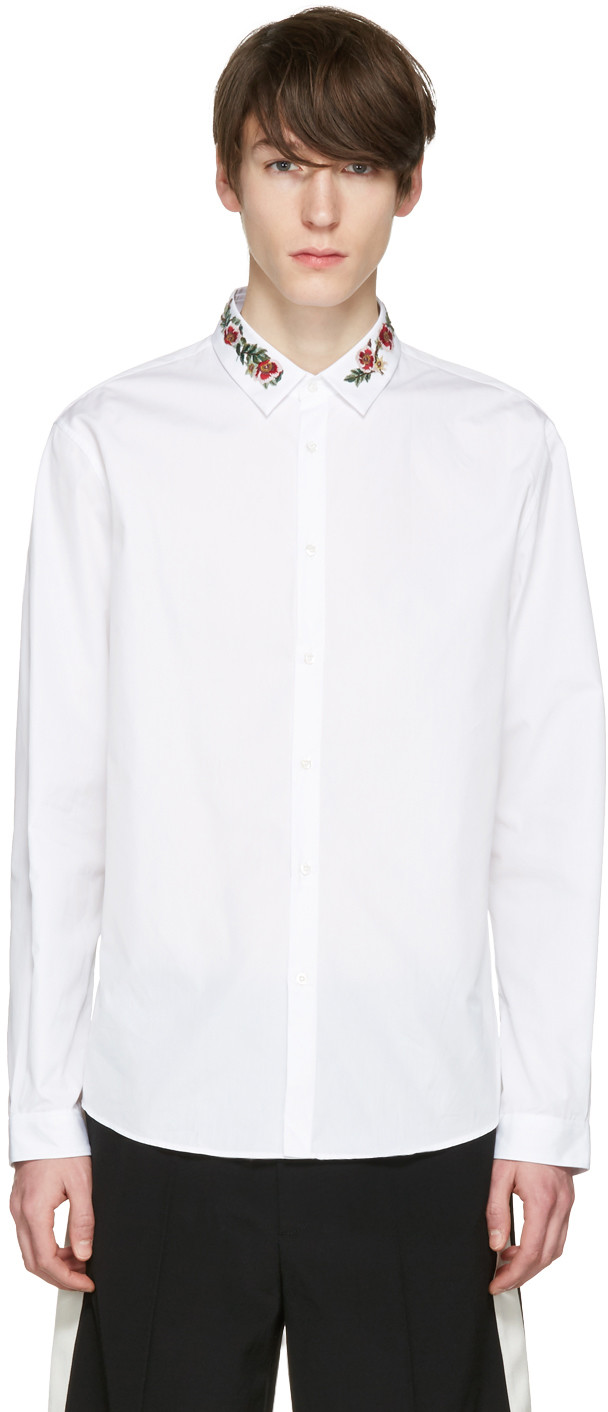 GUCCI Slim-Fit Floral-Embroidered Cotton-Poplin Shirt at SSENSE