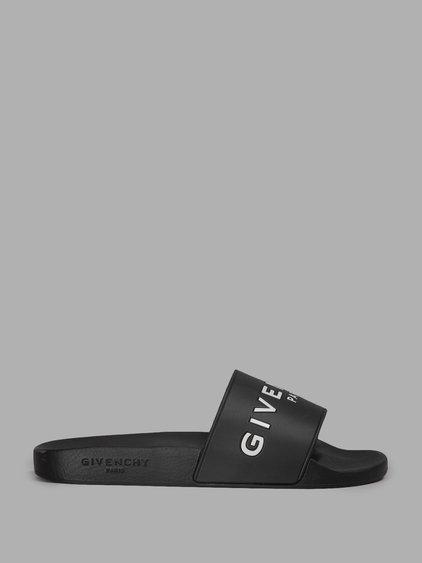 GIVENCHY 20Mm Logo Embossed Rubber Slide Sandals, Black at Antonioli