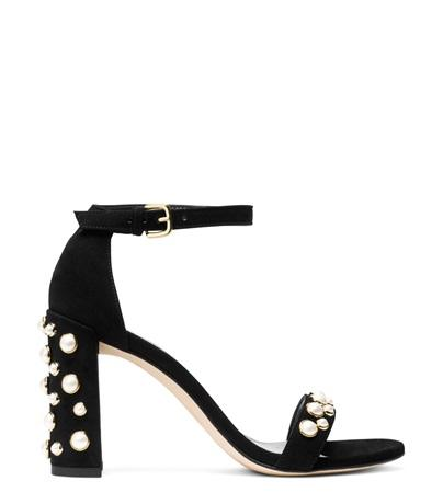 STUART WEITZMAN Morepearls Studded Suede Ankle Strap Sandals at STUART WEITZMAN