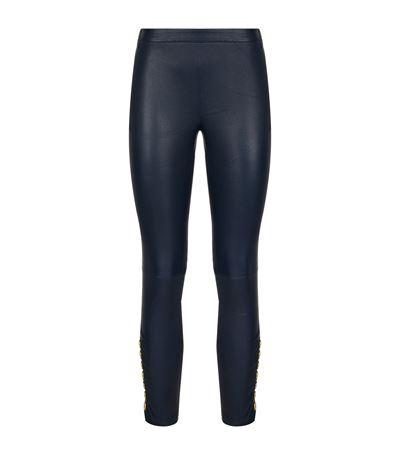 PIERRE BALMAIN Side Button Leather Leggings in Navy