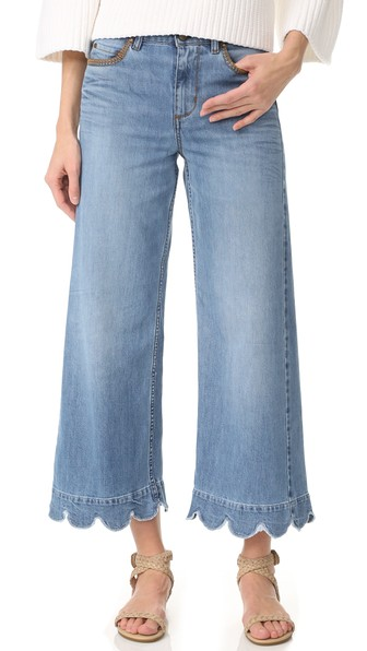RED VALENTINO Stone-Washed Cropped Wide-Leg Jeans, Light Blue at Shopbop
