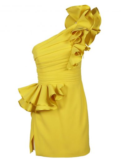 DSQUARED2 One Shoulder Ruffled Stretch Crepe Dress, Yellow at Italist.com