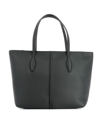 TOD'S Black Leather Shopping Bag