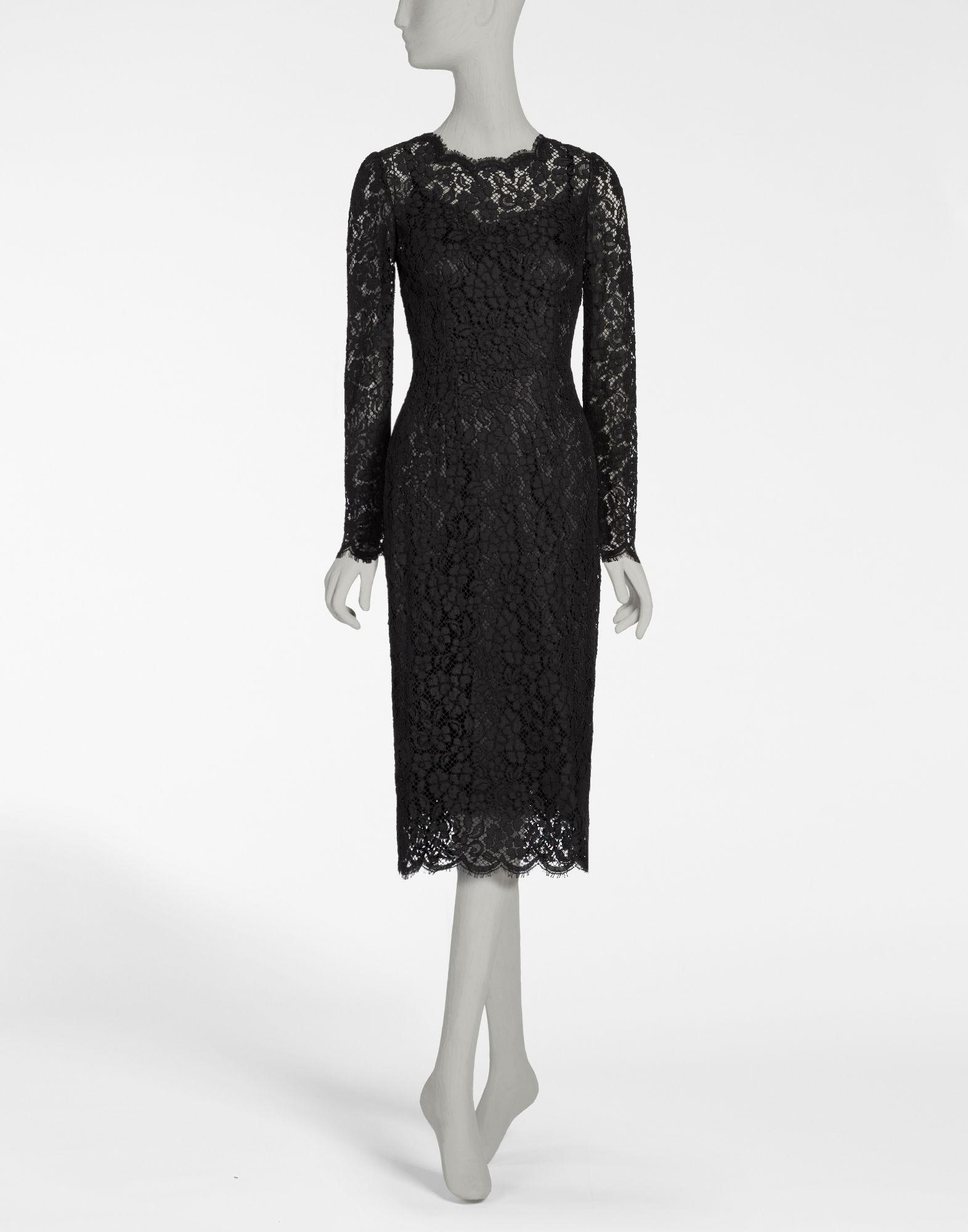 DOLCE & GABBANA Floral-Lace Long-Sleeve Dress, Black at DOLCE & GABBANA